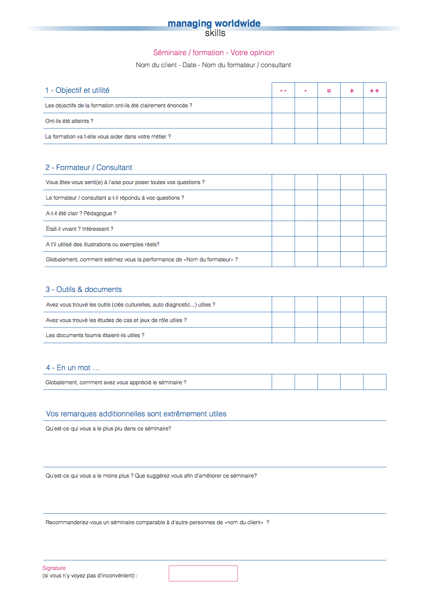 Typical form for rating the seminar